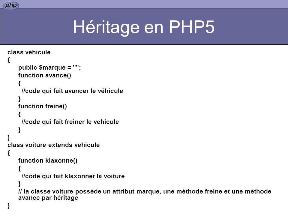 Héritage en PHP5 class vehicule { public $marque = ; function avance() { //code qui fait avancer le véhicule } function freine() { //code qui fait freiner le vehicule } class voiture extends vehicule { function klaxonne() { //code qui fait klaxonner la voiture } // la classe voiture possède un attribut marque, une méthode freine et une méthode avance par héritage }