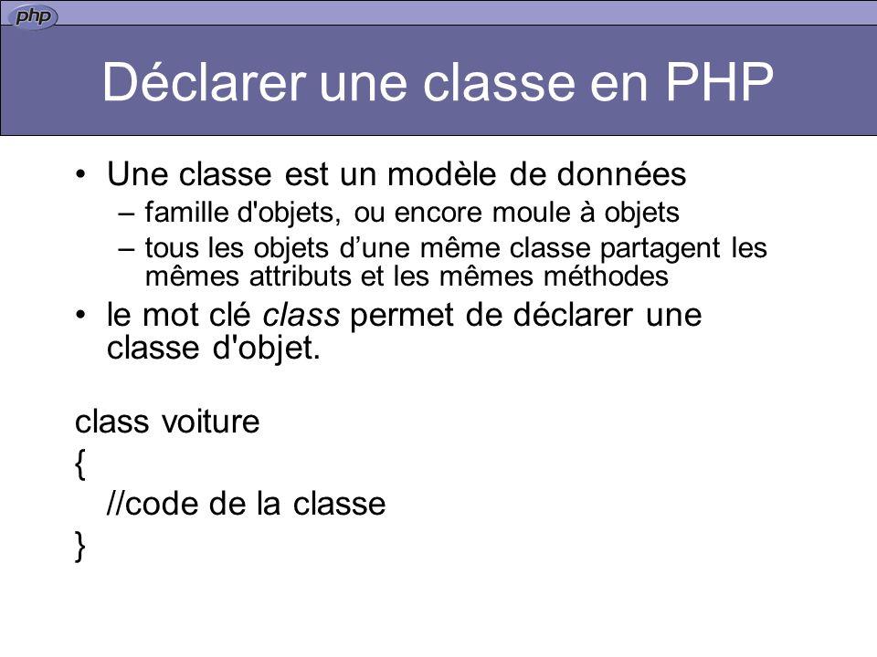 Déclarer une classe en PHP Une classe est un modèle de données –famille d objets, ou encore moule à objets –tous les objets dune même classe partagent les mêmes attributs et les mêmes méthodes le mot clé class permet de déclarer une classe d objet.