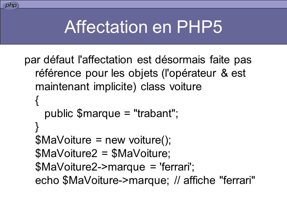 Affectation en PHP5 par défaut l affectation est désormais faite pas référence pour les objets (l opérateur & est maintenant implicite) class voiture { public $marque = trabant ; } $MaVoiture = new voiture(); $MaVoiture2 = $MaVoiture; $MaVoiture2->marque = ferrari ; echo $MaVoiture->marque; // affiche ferrari