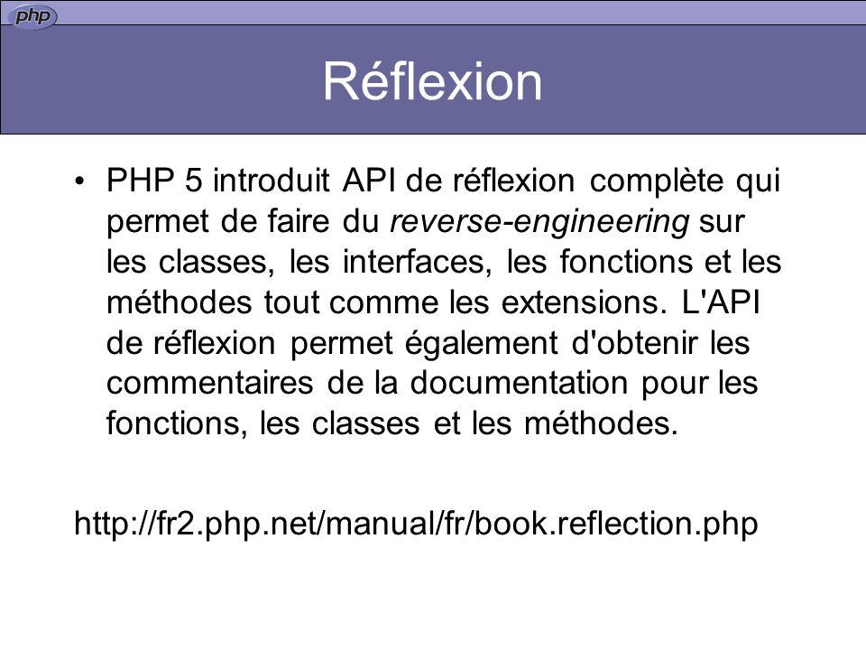 Réflexion PHP 5 introduit API de réflexion complète qui permet de faire du reverse-engineering sur les classes, les interfaces, les fonctions et les méthodes tout comme les extensions.