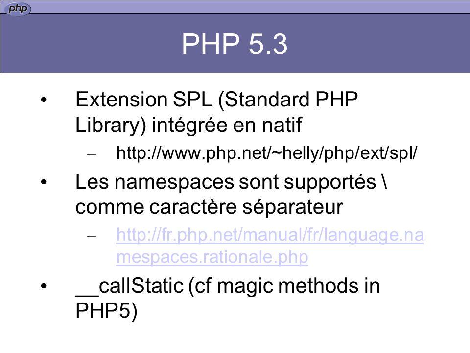PHP 5.3 Extension SPL (Standard PHP Library) intégrée en natif – http://www.php.net/~helly/php/ext/spl/ Les namespaces sont supportés \ comme caractère séparateur – http://fr.php.net/manual/fr/language.na mespaces.rationale.php http://fr.php.net/manual/fr/language.na mespaces.rationale.php __callStatic (cf magic methods in PHP5)