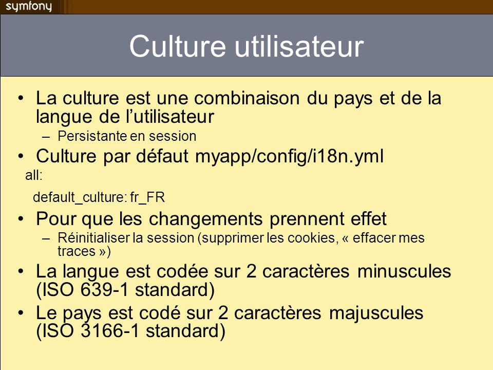 Culture utilisateur La culture est une combinaison du pays et de la langue de lutilisateur –Persistante en session Culture par défaut myapp/config/i18n.yml all: default_culture: fr_FR Pour que les changements prennent effet –Réinitialiser la session (supprimer les cookies, « effacer mes traces ») La langue est codée sur 2 caractères minuscules (ISO 639-1 standard) Le pays est codé sur 2 caractères majuscules (ISO 3166-1 standard)