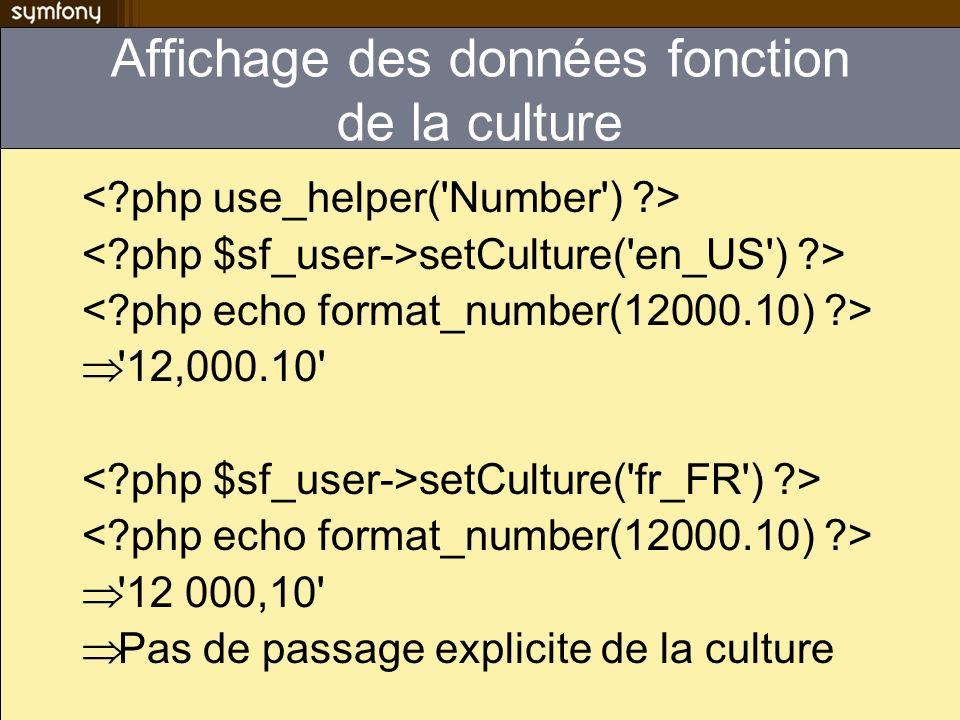 Affichage des données fonction de la culture setCulture('en_US') ?> '12,000.10' setCulture('fr_FR') ?> '12 000,10' Pas de passage explicite de la cult