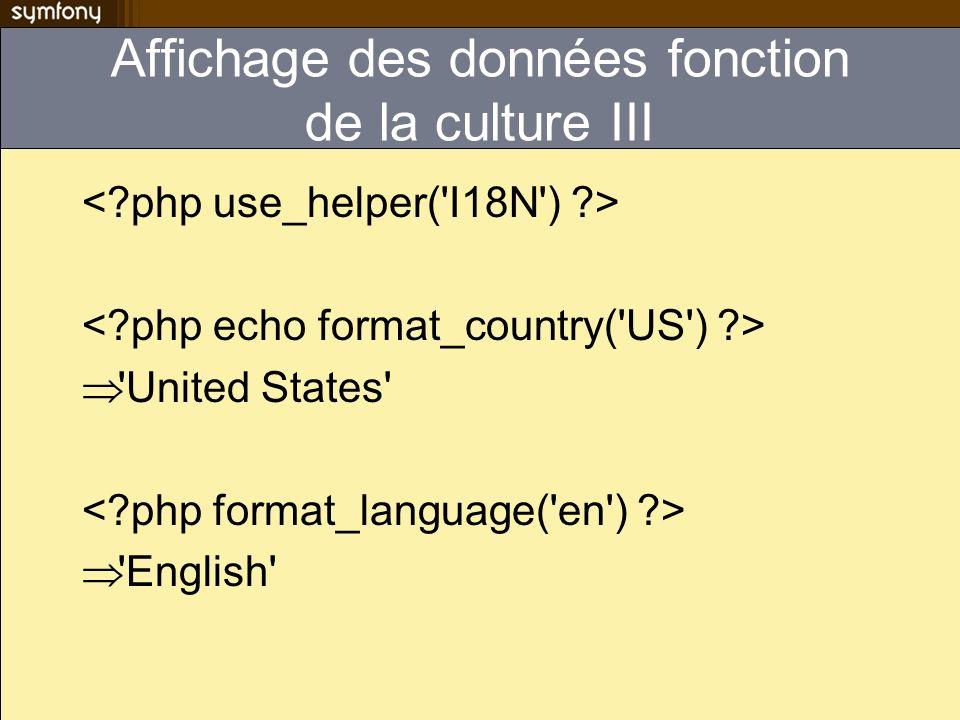 Affichage des données fonction de la culture III 'United States' 'English'