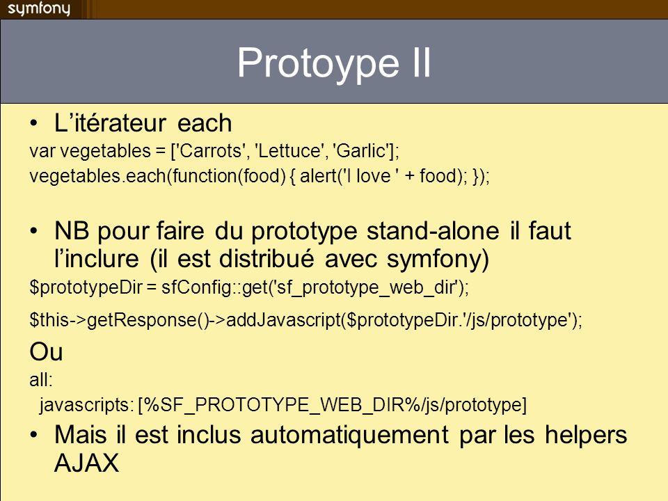 Protoype II Litérateur each var vegetables = ['Carrots', 'Lettuce', 'Garlic']; vegetables.each(function(food) { alert('I love ' + food); }); NB pour f