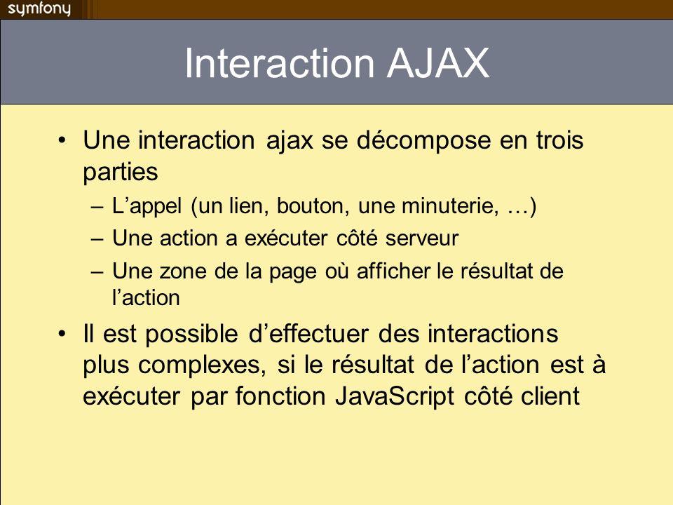 Interaction AJAX Une interaction ajax se décompose en trois parties –Lappel (un lien, bouton, une minuterie, …) –Une action a exécuter côté serveur –U