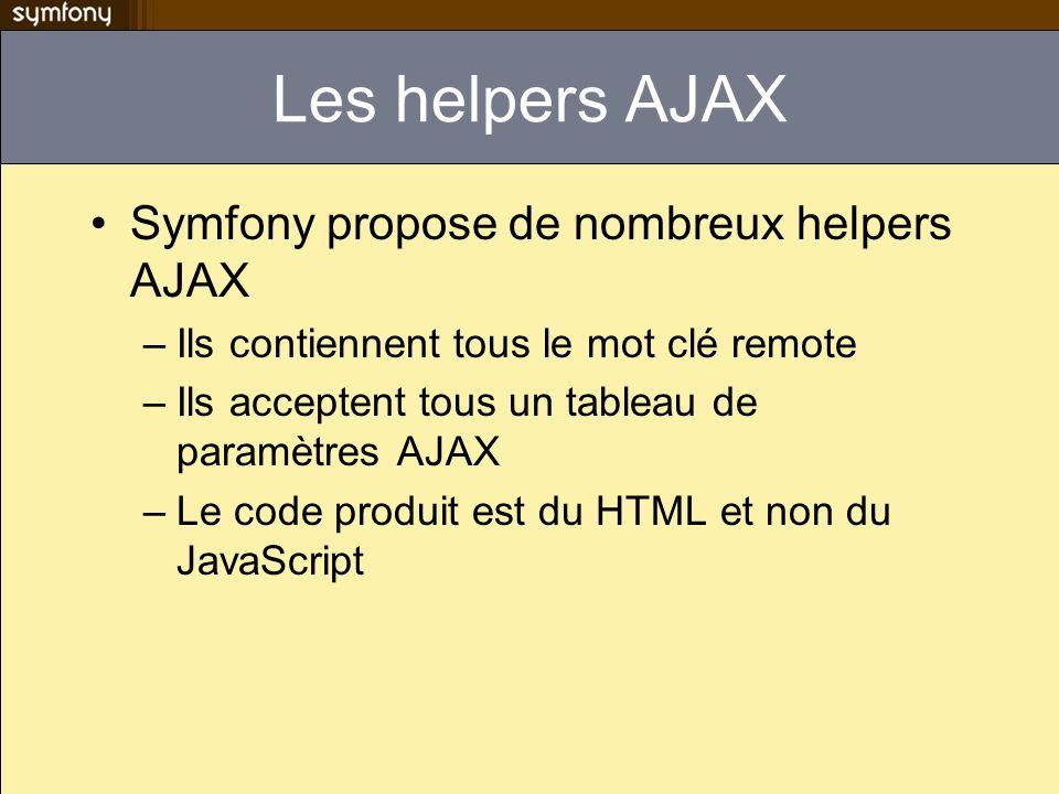 Les helpers AJAX Symfony propose de nombreux helpers AJAX –Ils contiennent tous le mot clé remote –Ils acceptent tous un tableau de paramètres AJAX –L