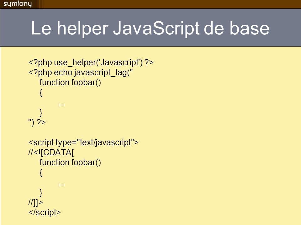 Le helper JavaScript de base <?php echo javascript_tag(