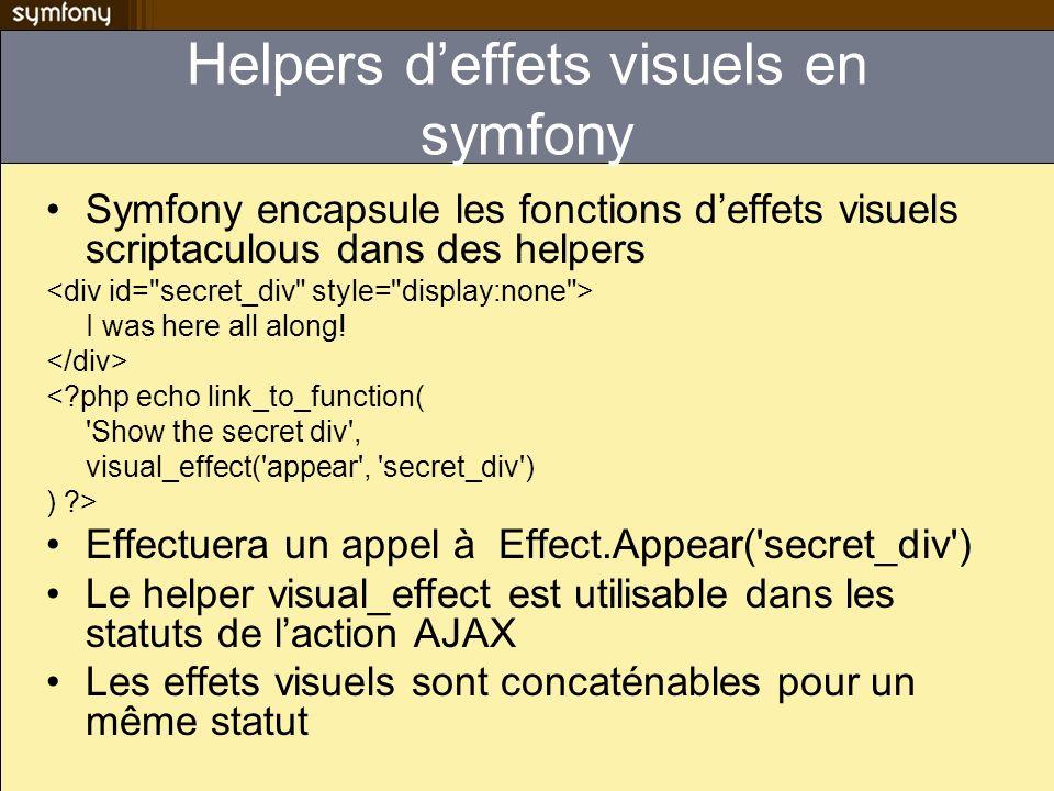 Helpers deffets visuels en symfony Symfony encapsule les fonctions deffets visuels scriptaculous dans des helpers I was here all along! <?php echo lin