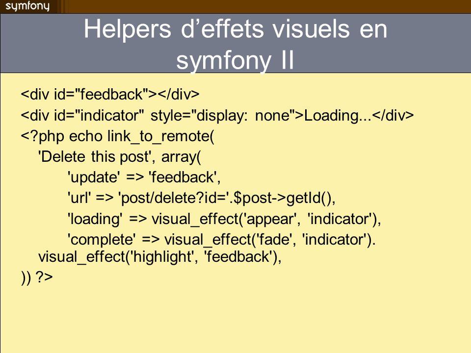 Helpers deffets visuels en symfony II Loading... <?php echo link_to_remote( 'Delete this post', array( 'update' => 'feedback', 'url' => 'post/delete?i