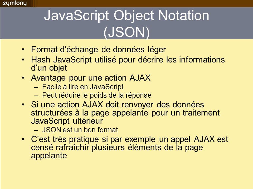 JavaScript Object Notation (JSON) Format déchange de données léger Hash JavaScript utilisé pour décrire les informations dun objet Avantage pour une a