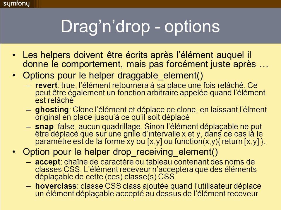 Dragndrop - options Les helpers doivent être écrits après lélément auquel il donne le comportement, mais pas forcément juste après … Options pour le h