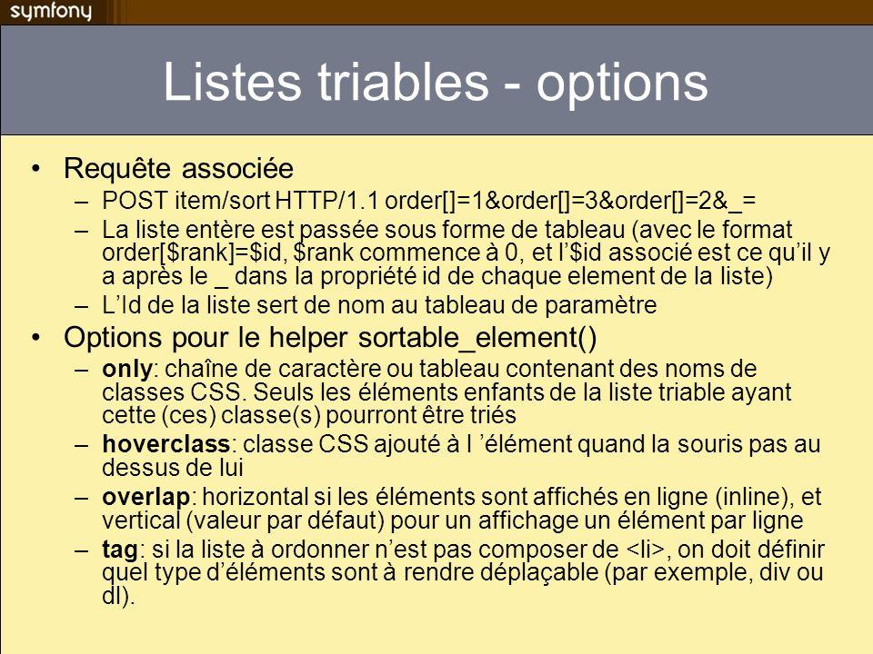 Listes triables - options Requête associée –POST item/sort HTTP/1.1 order[]=1&order[]=3&order[]=2&_= –La liste entère est passée sous forme de tableau