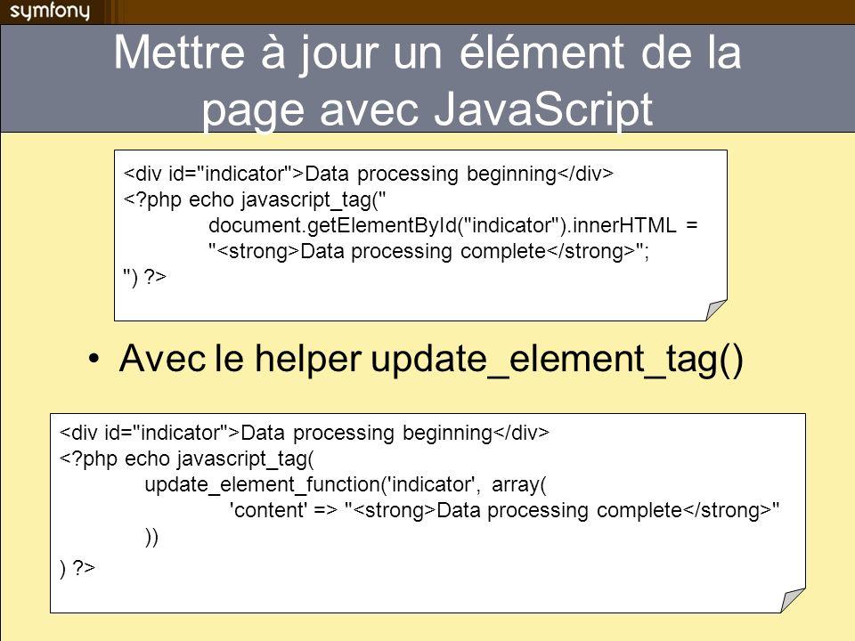 Edit in place You can edit this text <?php echo input_in_place_editor_tag( edit_me , mymodule/myaction , array( cols => 40, rows => 10, ) ) ?> Option pour le helper input_in_place_editor_tag –cols and rows: la taille du textarea affiché (1 => simple input text) –loadTextURL: lURI dune action appelée pour afficher le texte à éditer.