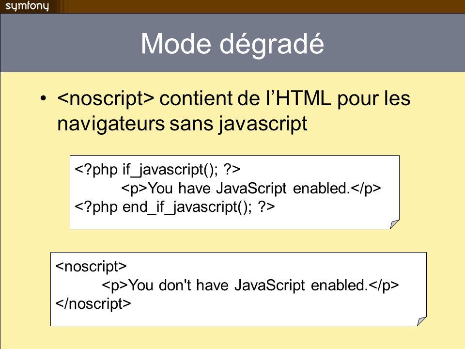 Mode dégradé contient de lHTML pour les navigateurs sans javascript You have JavaScript enabled. You don't have JavaScript enabled.