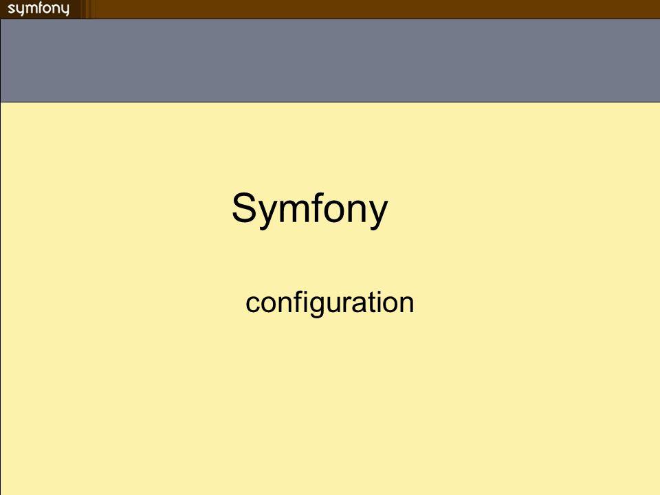 généralités La configuration de symfony est stockée dans des fichiers.yml (YAML) par défaut Un fichier de configuration peut se trouver au niveau du projet de lapplication ou du module Possibilité de centralisé un ensemble de configuration dans de des environnements Les valeurs définies dans les fichiers de configuration sont accessibles via PHP Le code PHP est possible dans les fichiers.yml