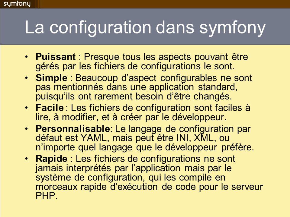 Accéder à la configuration à partir du code PHP II Certaines variables de configuration symfony sont accessible via PHP settings.yml all:.settings: available: on path_info_array: SERVER Accessibles comme suit sfConfig::set( sf_available, false); sfConfig::get( sf_path_info_array); N.B.