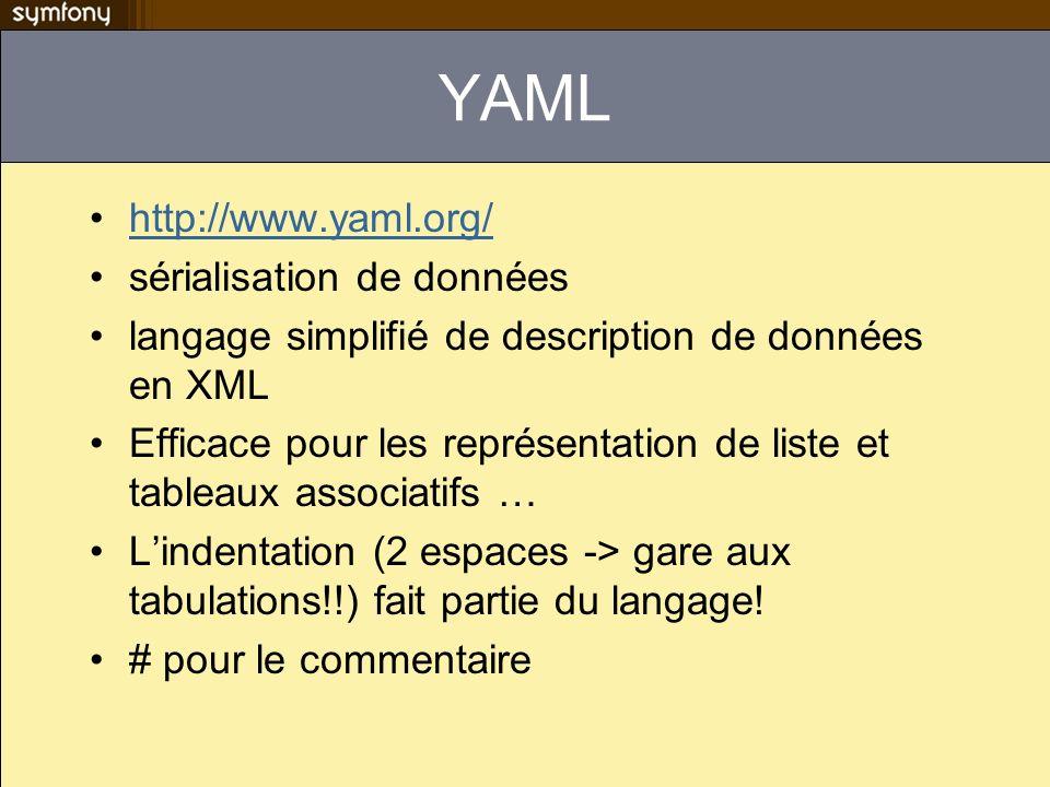 More exciting than YAML DBDesigner Création de schéma de BDD en mode graphique Possibilité de convertir le schéma visuel en schema.yml Application non maintenue, qui ne compile pas sous linux –http://www.strangebuzz.com/index.php/2008/09/08/36-new- symfony-11-plugin-tutorial-sfdb4topropelpluginhttp://www.strangebuzz.com/index.php/2008/09/08/36-new- symfony-11-plugin-tutorial-sfdb4topropelplugin –http://mazenod.fr/blog/un-petit-batch-pour-symfony.htmlhttp://mazenod.fr/blog/un-petit-batch-pour-symfony.html –http://mazenod.fr/blog/commencer-un-projet-symfony.htmlhttp://mazenod.fr/blog/commencer-un-projet-symfony.html –http://mazenod.fr/blog/dbdesigner-out-of-memory.htmlhttp://mazenod.fr/blog/dbdesigner-out-of-memory.html –http://mazenod.fr/blog/utiliser-dbdesigner-avec-l-i18n-de-symfony.htmlhttp://mazenod.fr/blog/utiliser-dbdesigner-avec-l-i18n-de-symfony.html