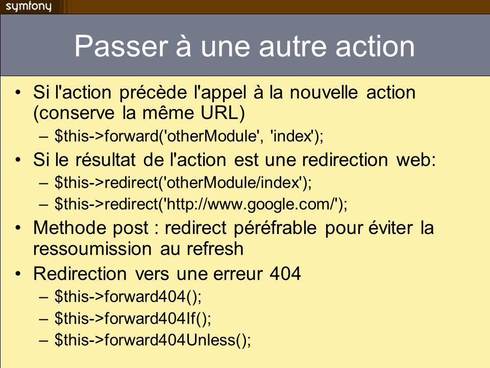 Passer à une autre action Si l'action précède l'appel à la nouvelle action (conserve la même URL) –$this->forward('otherModule', 'index'); Si le résul
