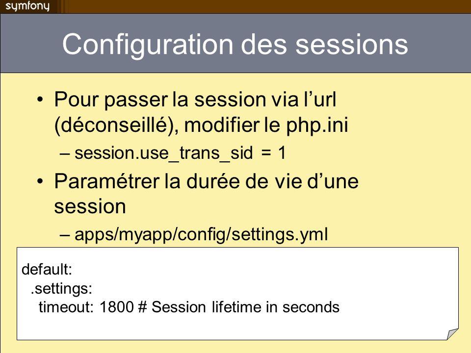 Configuration des sessions Pour passer la session via lurl (déconseillé), modifier le php.ini –session.use_trans_sid = 1 Paramétrer la durée de vie du