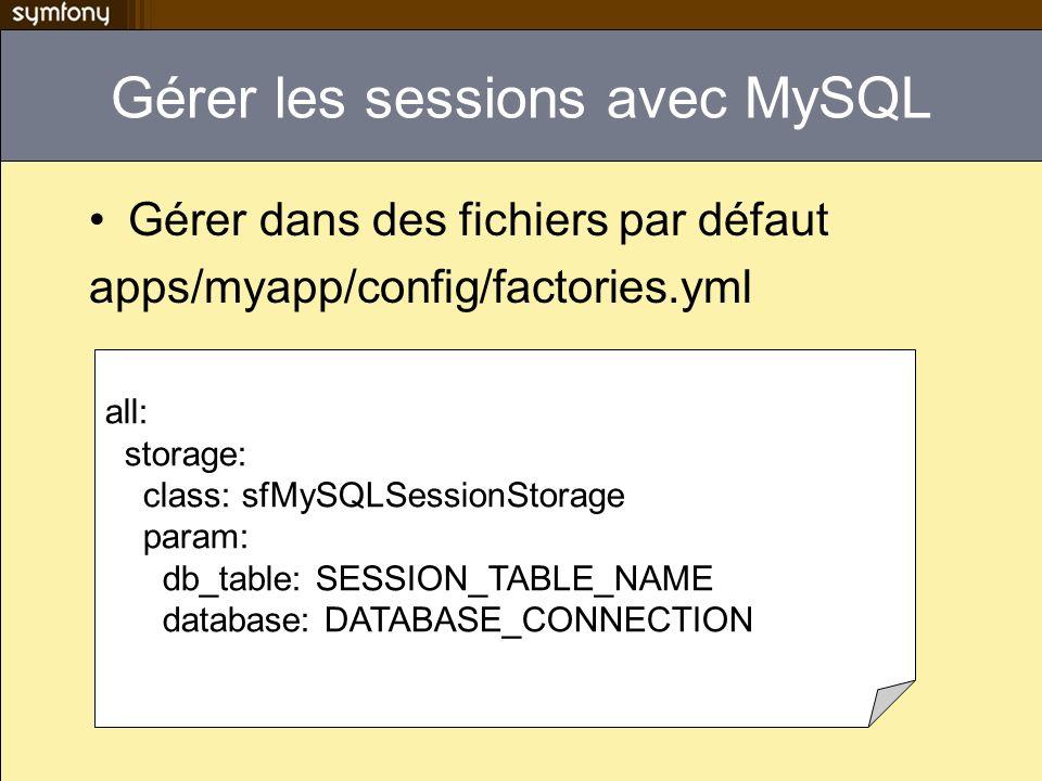Gérer les sessions avec MySQL Gérer dans des fichiers par défaut apps/myapp/config/factories.yml all: storage: class: sfMySQLSessionStorage param: db_