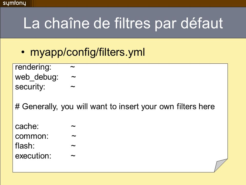 La chaîne de filtres par défaut myapp/config/filters.yml rendering: ~ web_debug: ~ security: ~ # Generally, you will want to insert your own filters h