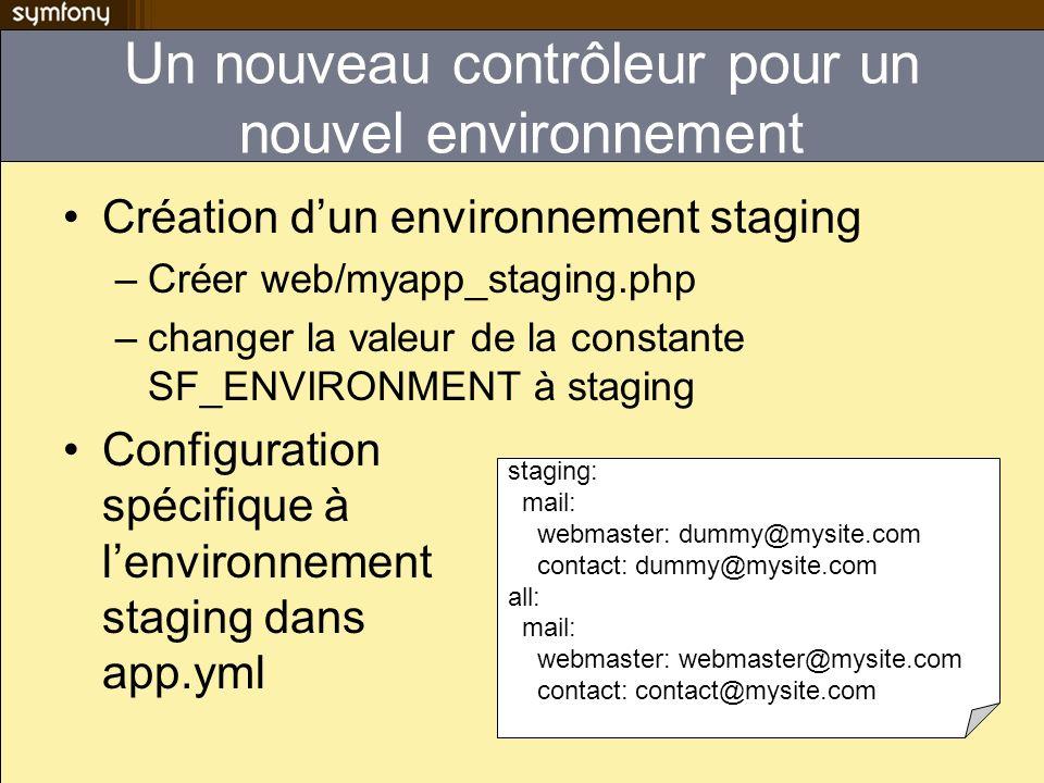 Configuration des modules apps/myapp/modules/mymodule/config/module.ym l all: # For all environments enabled: true is_internal: false view_class: sfPHP enabled : (dés)active toutes les actions du module is_internal : les appels aux actions ne se font quà parti de lappli (mail) view_class : hérite de sfView par défaut, mais peuvent hérité dun autre langage de template (Smarty)