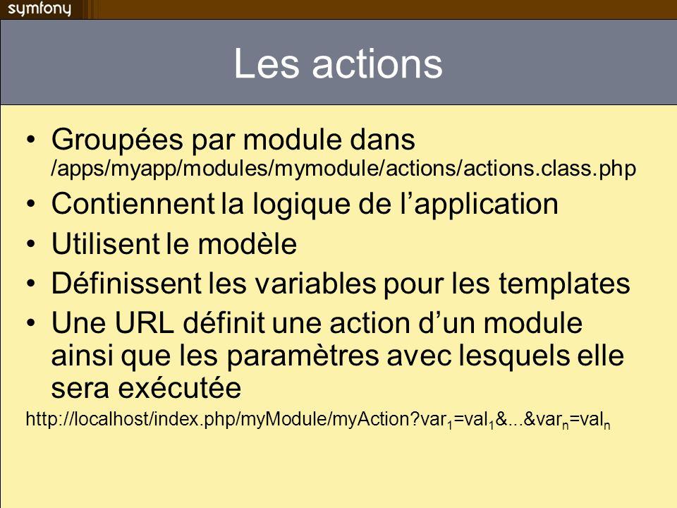Convention de nommage La classe contenant les actions de myModule se nomme myModuleActions et hérite de sfActions Laction myAction de myModule est une méthode de la classe myModuleActions nommée executeMyAction Si la taille d une classe action grandit trop, il faudra probablement faire le refactoring de celle-ci et déplacer une partie de son code dans la couche modèle
