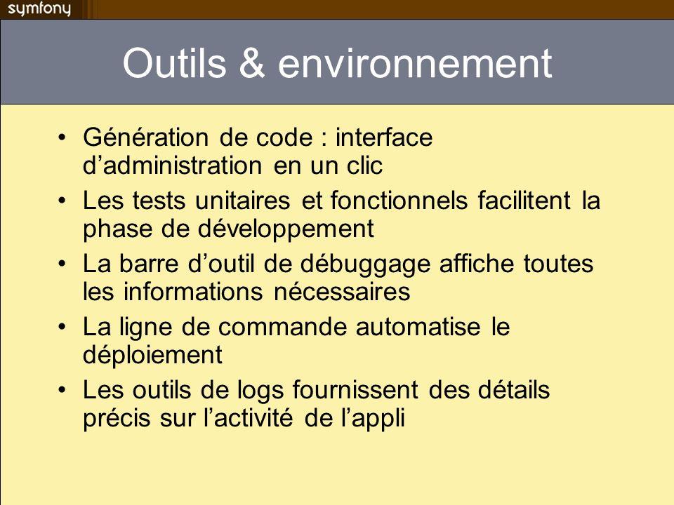 Outils & environnement Génération de code : interface dadministration en un clic Les tests unitaires et fonctionnels facilitent la phase de développem