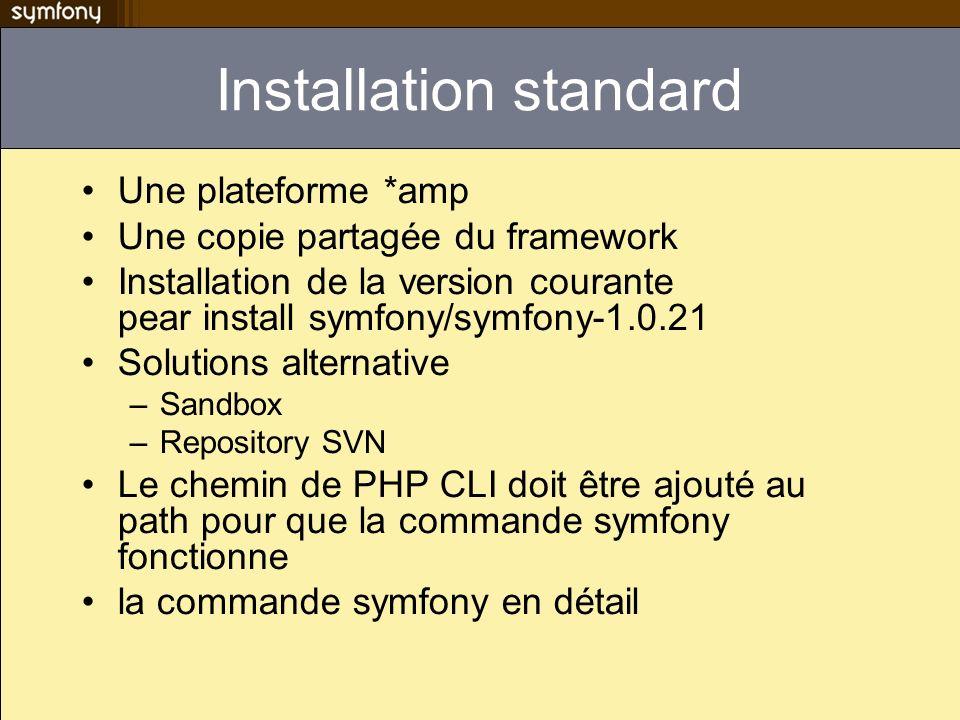 Installation standard Une plateforme *amp Une copie partagée du framework Installation de la version courante pear install symfony/symfony-1.0.21 Solu