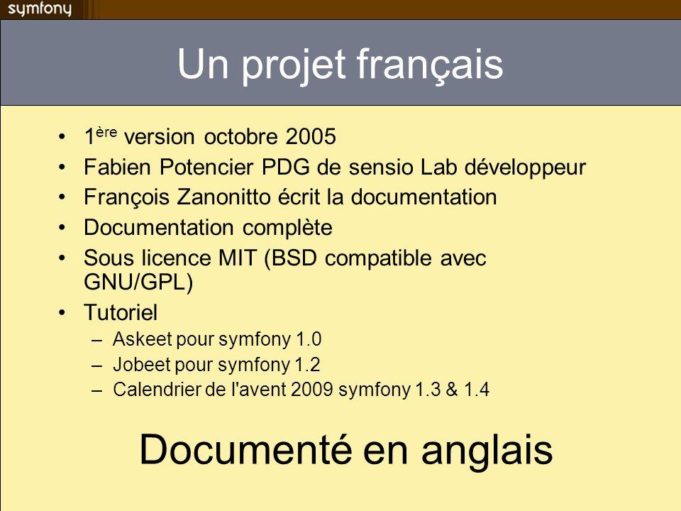 Un projet français 1 ère version octobre 2005 Fabien Potencier PDG de sensio Lab développeur François Zanonitto écrit la documentation Documentation c