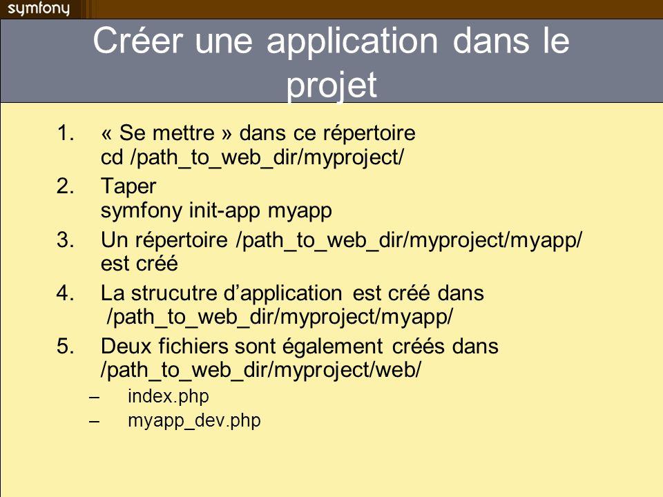Créer une application dans le projet 1.« Se mettre » dans ce répertoire cd /path_to_web_dir/myproject/ 2.Taper symfony init-app myapp 3.Un répertoire