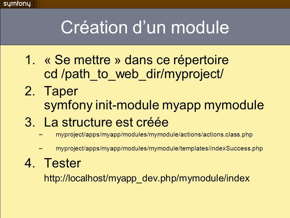 Création dun module 1.« Se mettre » dans ce répertoire cd /path_to_web_dir/myproject/ 2.Taper symfony init-module myapp mymodule 3.La structure est cr
