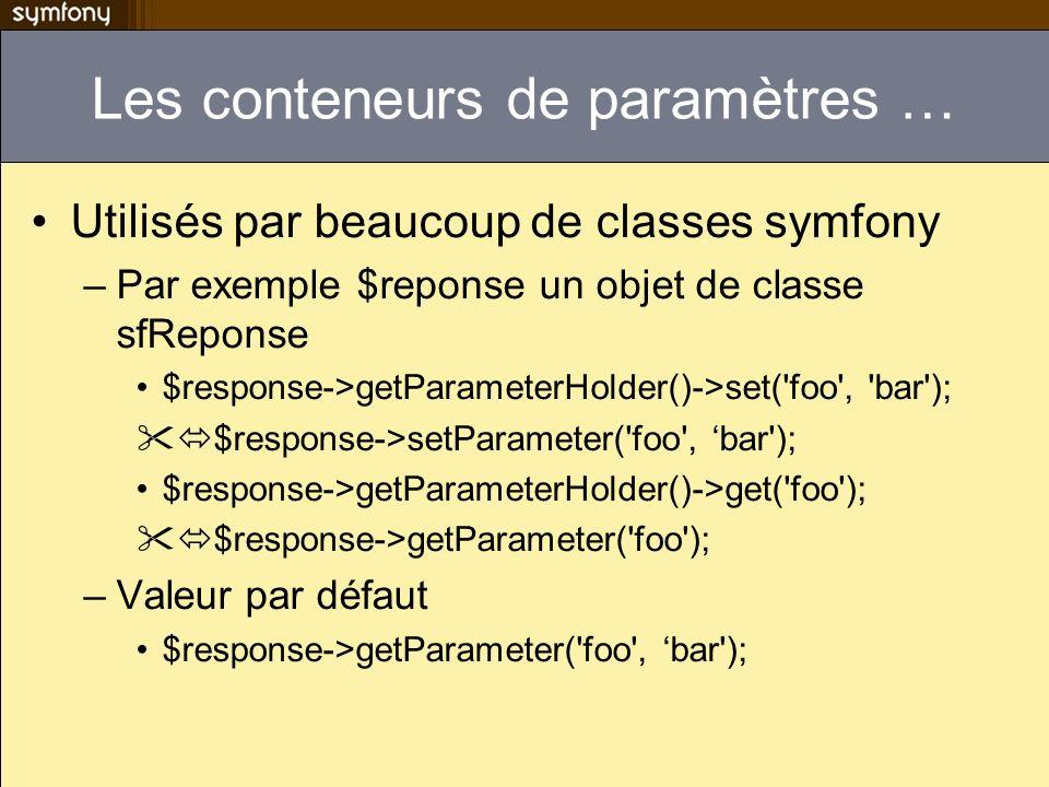 Les conteneurs de paramètres … Utilisés par beaucoup de classes symfony –Par exemple $reponse un objet de classe sfReponse $response->getParameterHold