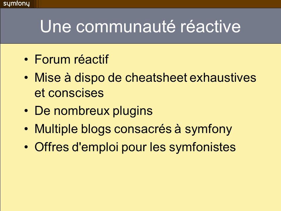 Une communauté réactive Forum réactif Mise à dispo de cheatsheet exhaustives et conscises De nombreux plugins Multiple blogs consacrés à symfony Offre