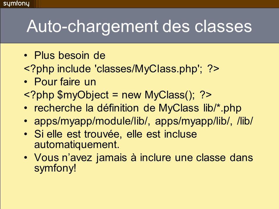 Auto-chargement des classes Plus besoin de Pour faire un recherche la définition de MyClass lib/*.php apps/myapp/module/lib/, apps/myapp/lib/, /lib/ S