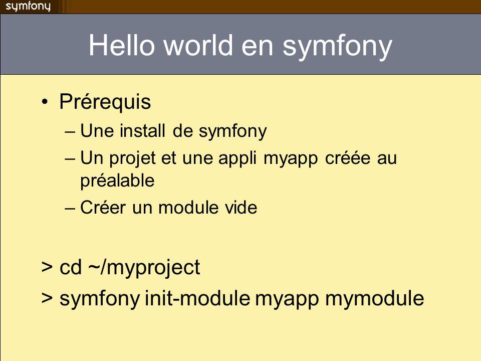 Hello world en symfony Prérequis –Une install de symfony –Un projet et une appli myapp créée au préalable –Créer un module vide > cd ~/myproject > sym