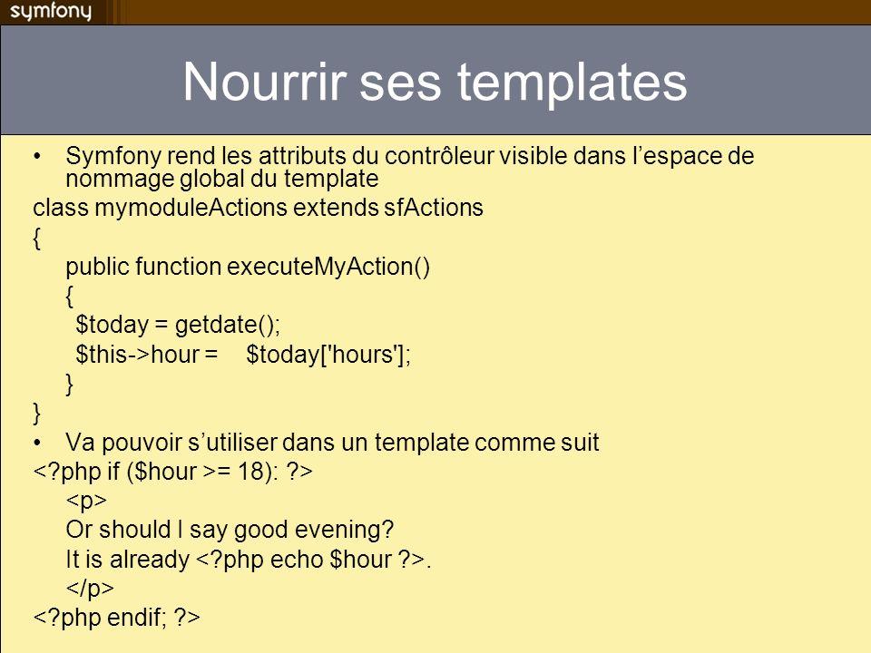 Nourrir ses templates Symfony rend les attributs du contrôleur visible dans lespace de nommage global du template class mymoduleActions extends sfActi