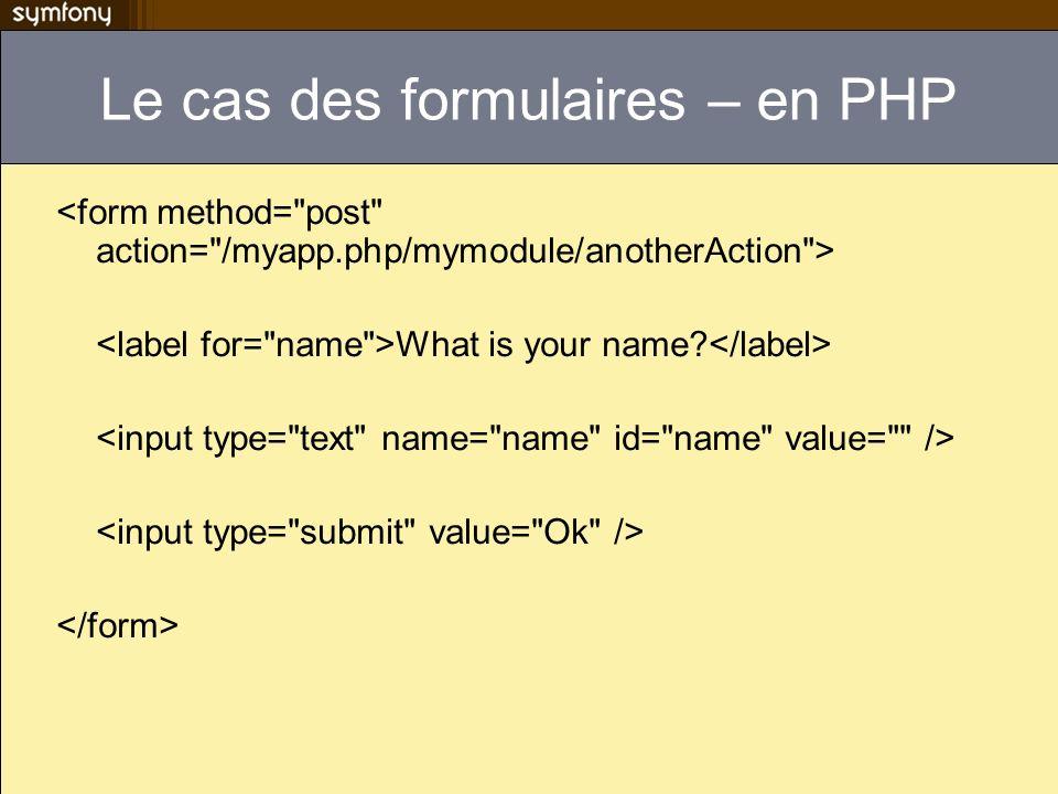 Le cas des formulaires – en PHP What is your name?