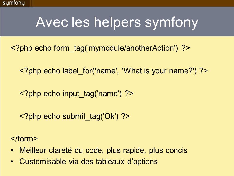 Avec les helpers symfony Meilleur clareté du code, plus rapide, plus concis Customisable via des tableaux doptions