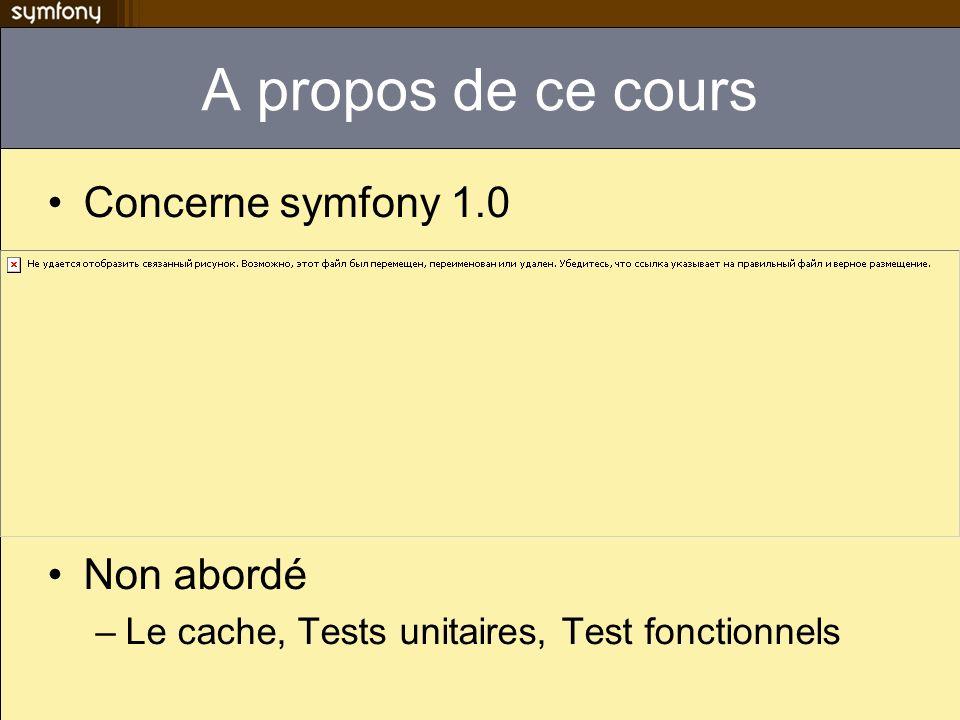 Anatomie dun projet apps contient un répertoire par application (typiquement front et back) batch scripts PHP exécutable en ligne de commandes ou via cron Cache cache des configurations, actions, templates config configuration générale de lappli data les données du projet, un schéma de base de données, des commandes SQL doc Documentation de lappli lib toutes les classes et librairies partagées par toutes les applications log fichiers de log symfony (par applications et environnement) plugins les plugins utilisés par le projet test contient les tests unitaires et fonctionnels web la racine du serveur web.