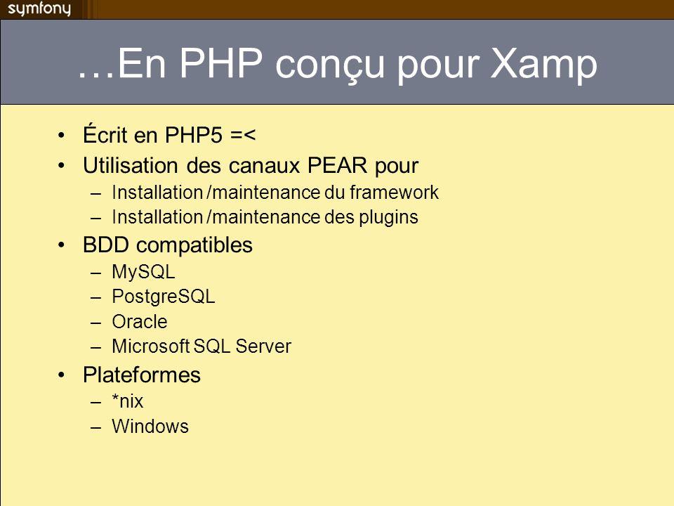 …En PHP conçu pour Xamp Écrit en PHP5 =< Utilisation des canaux PEAR pour –Installation /maintenance du framework –Installation /maintenance des plugi