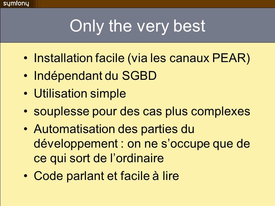 couche d abstraction & ORM Abstraction de données –indépendance vis-à vis du SGBD –Géré par creole dans symfony 1.0 –Géré par l extension PDO dans symfony 1.2 ORM –mapping objet/relationnel Produits des objets permettant l accès aux données tout en isolant la logique métier –Deux possibilités propel : http://propel.phpdb.org/http://propel.phpdb.org/ doctrine : http://www.doctrine-project.org/