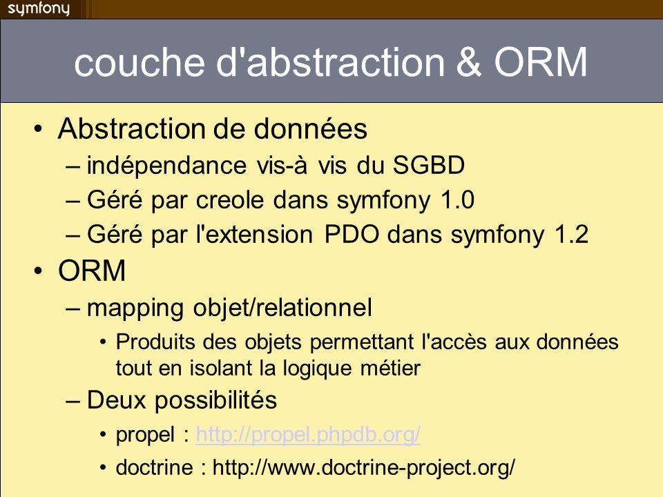 couche d'abstraction & ORM Abstraction de données –indépendance vis-à vis du SGBD –Géré par creole dans symfony 1.0 –Géré par l'extension PDO dans sym