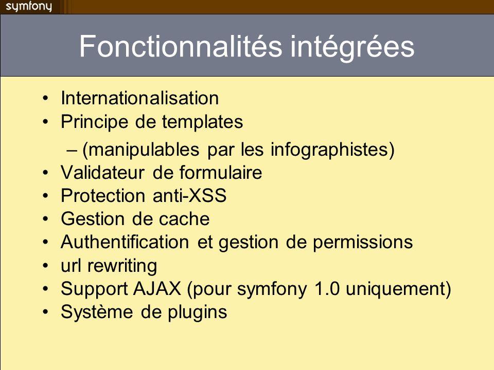 Fonctionnalités intégrées Internationalisation Principe de templates –(manipulables par les infographistes) Validateur de formulaire Protection anti-X