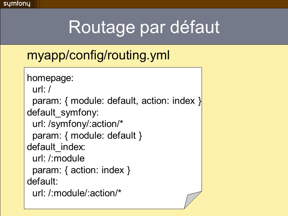 Routage par défaut myapp/config/routing.yml homepage: url: / param: { module: default, action: index } default_symfony: url: /symfony/:action/* param: { module: default } default_index: url: /:module param: { action: index } default: url: /:module/:action/*
