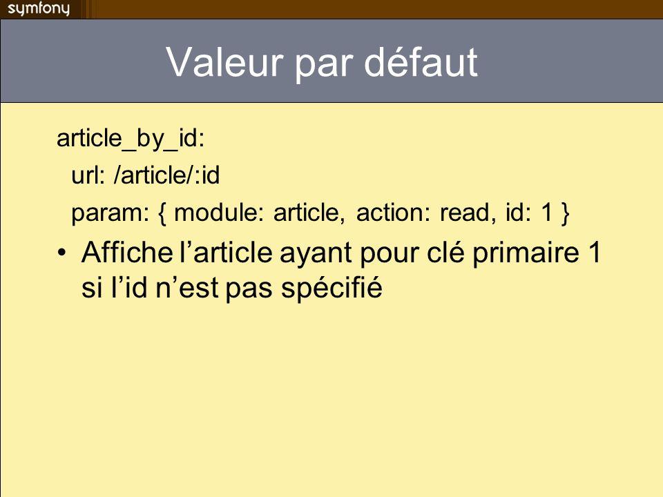 Valeur par défaut article_by_id: url: /article/:id param: { module: article, action: read, id: 1 } Affiche larticle ayant pour clé primaire 1 si lid n