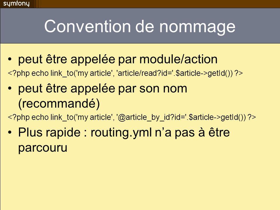 Convention de nommage peut être appelée par module/action getId()) ?> peut être appelée par son nom (recommandé) getId()) ?> Plus rapide : routing.yml