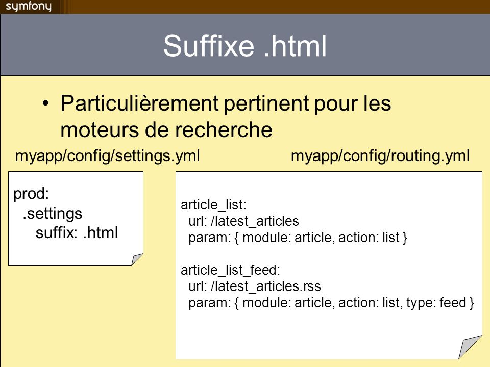 Suffixe.html Particulièrement pertinent pour les moteurs de recherche myapp/config/settings.ymlmyapp/config/routing.yml prod:.settings suffix:.html article_list: url: /latest_articles param: { module: article, action: list } article_list_feed: url: /latest_articles.rss param: { module: article, action: list, type: feed }