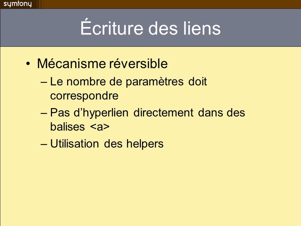 Écriture des liens Mécanisme réversible –Le nombre de paramètres doit correspondre –Pas dhyperlien directement dans des balises –Utilisation des helpe